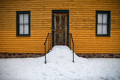 Not Lost in the Snow (SunnyDazzled) Tags: rural home house windows door stairs winter snow historical history early 1800s 19thcentury yellow gold garis architecture delawarewatergap millbrook village