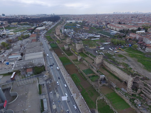 Walls of Constantinople (Theodosian Walls) from the air