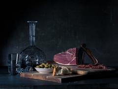 Jamón Still Life (Verónica Mayer (-Urrutia)) Tags: jamon spain stilllife carafe tapas bread olives crystal bodegon knife serrano food spanish ham meat wood