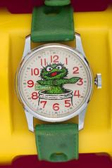 1977 Oscar the Grouch watch (Tom Simpson) Tags: sesamestreet watch accessories vintage 1977 1970s oscarthegrouch grouch muppet muppets themuppets