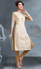 Off White Color Shaded Cotton Tunic