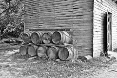 Barrels on the side of the tobacco barn (nutzk) Tags: virginia yorktown americanrevolutionmuseum recreated revolutionerafarmhouse tobacco barn barrel monochrome