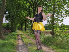 Country road (Paula Satijn) Tags: sexy hot girl skirt miniskirt satin silk silky shiny yellow gurl tgirl black outside tree spring smile fun joy happy legs stockings lace stockingtops lacy sensual