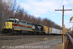 Norfolk Southern EMD SD45-2 #1700 leads NS EMD SD40-2 #3365 on Conrail Train OI-16, an Oak Island to Browns yard daily train. (Mitchell Ritter) Tags: 1700 3365