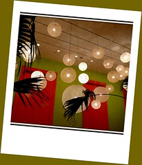 light' 'er than ... (milomingo) Tags: motif round circle sphere ball silhouette palm leaf polaroid lamp hanginglamp perspective geometry square format green red tan lines saguarohotel scottsdale arizona southwest angle diagonal bright bold vivid vibrant colorful decor indoor design