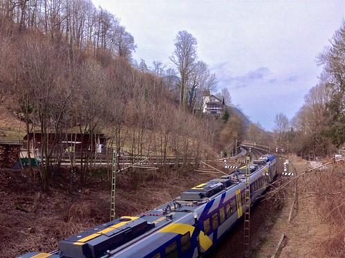 Meridian Regional Express train between Kiefersfelden and Oberaudorf in Bavaria, Germany