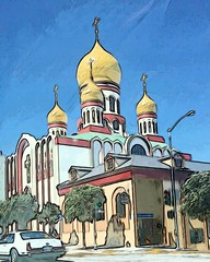 (sftrajan) Tags: holyvirginrussianorthodoxcathedral russian orthodox cathedral domes geary gearyboulevard sanfrancisco church therichmond richmonddistrict california edited 2017 cameraphone outerrichmond android cellphone édité editado
