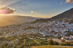 Overlooking Chefchaouen Medina at Sunset (adventurousness) Tags: bluecity chefchaouenthebluepearl magichour thebluecity blue chaouen chefchaouen cityscape hdr morocco travel medina sunset town