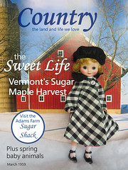 Tag Game: Cover Girl (Foxy Belle) Tags: tag game doll betsy mccall country town winter barn calendar coat hat magazine cover girl red check beret dress