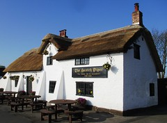Scotch Piper - Open again (White Pass1) Tags: lydiate merseyside scotchpiperpub pub thescotch thatched thatchedroof listedbuilding