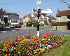 Angmering in Bloom (oh.suzannah) Tags: tulips pansies flowers spring signpost