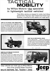 1961 Willys Jeep Military Vehicles (aldenjewell) Tags: 1961 willys jeep m170 front line ambulance m274 mechanical mulee fc170 twelve passenger personnel carrier truck motors ad