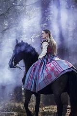 _MG_9052 (berber.maarsingh@yahoo.nl) Tags: medieval fantasy fairytale mystic smoke black mare horse friesian middeleeuws fries paard renaissance jurk dress purple rook blue