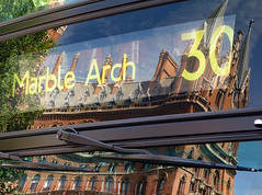 London bus reflection (Allan Rostron) Tags: london buses stpancras railwaystations marblearch street