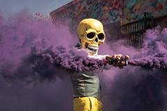 Purple Haze (Geoff Livingston) Tags: sttreet meet la skeleton skeletor muertos dayofthedead dia smoke purple street butch locsin