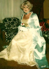 Something from the past . One of my first gowns I designed . (Priscilla St. John) Tags: transvestite crossdresser gown satin blue princess cd tv m2f glam blonde lace tranny