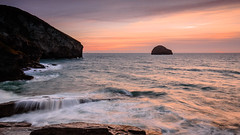 Trebarwith Under Siege. (b.pedlar) Tags: sea spray waves danger rocks cliffs atlantic northcoast sunset seascape landscape sun clouds colours sky headland strand trebarwith cornwall