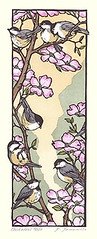 Flowering dogwood and black-capped chickadee (Japanese Flower and Bird Art) Tags: flower flowering dogwood cornus florida cornaceae bird blackcapped chickadee poecile atricapillus paridae yoshiko yamamoto modern woodblock print japan japanese art readercollection