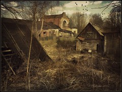 A dying village. (odinvadim) Tags: mytravelgram paintfx textured textures iphone editmaster travel iphoneography sunset evening iphoneonly church painterly artist snapseed landscape photofx specialist iphoneart graphic painterlymobileart