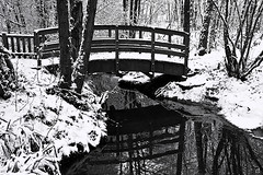 Snowy Bridge (fstop186) Tags: bridge winter white snow black cold reflection water canon blackwhite stream footbridge freezing blanket 5d chilly ripples ef24105mmf4lisusm reflectsobsessions
