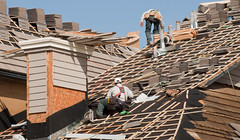 Roof Repairs (websitesnj) Tags: wood blue roof sky house men hammer danger outdoors team construction risk action unitedstatesofamerica working safety equipment effort repairing asphalt job highup homeimprovement plywood restoring cooperation carpenter teamwork constructionworker replace rooftile installing roofer buildingcontractor buildingexterior worktool placeofwork woodshingle residentialstructure manualworker menonroof roofthatcher