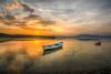Last colours (Nejdet Duzen) Tags: trip travel sunset lake reflection nature turkey boat türkiye sandal günbatımı göl yansıma turkei seyahat manisa doğa gölmarmara