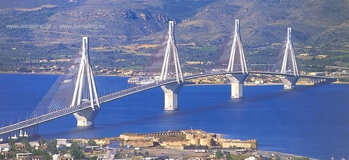 The Rio-Antirrio bridge crosses the Gulf of Corinth near Patras linking the town of Rio on the Peloponnese peninsula to Antirrio on mainland Greece. Is one of the world's longest multi-span cable-stayed bridges and the longest of the fully suspended type