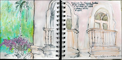 Puedo ver la Alameda Apodaca desde nuestra ventana si extiendo la cabeza y adems estiro el cuello.  Cdiz. 24 de octubre, 2014. (Sharon Frost) Tags: spain paintings parks drawings palmtrees spanish balconies cdiz sketchbooks journals sharonfrost daybooks alamedaapodaca urbansketchers stillmanbirn