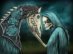 Momento Mori, Gothic Skeleton & Horse Art (shaire productions) Tags: roses horse art love halloween nature floral tattoo illustration digital pen ink photoshop dark dayofthedead skeleton death skull design artwork graphics friendship mechanical image drawing mixedmedia gothic goth picture surreal creation photograph fate horror macabre drawn skeletal imagery inked steampunk tattooart darkfantasy momentomori blueroses rememberme sherriethai rememberdeath shaireproductions gothicsurrealism