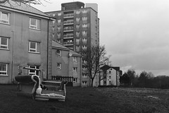 (Matthew Fleming Photography) Tags: urban house building tower abandoned film sofa lancaster council plus block derelict ilford fp4 settee
