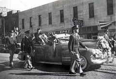 Homecoming parade down Broadway, 1941. (NDSU University Archives) Tags: cars homecoming northdakotastateuniversity