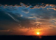 Sydney Sunrise (Explore) (missgeok) Tags: lighting new morning blue sky orange sun colors beautiful weather clouds composition sunrise reflections dark amazing day mood colours horizon sydney warmth dramatic atmosphere australia flare layers framing cloudscape