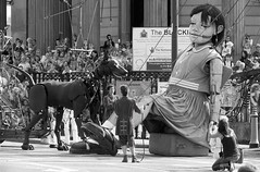 Little Girl Giant and her dog, Xolo, outside the Black-E, Great George Street, Chinatown, Liverpool, UK (Ministry) Tags: street city uk dog church girl liverpool giant spectacular chinatown little theatre puppet crowd pillar event column marionnette marionette congregational merseyside 2014 lilliputian royaldeluxe xoloitzcuintli xolo blacke greatgeorgestreet giantspectacular memoriesofaugust1914