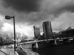 Blue Bridge Grand Rapids Grand River Sky Line Black and White (stevendepolo) Tags: bridge blue sky white black river grand line rapids