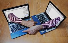Bringing Escher up to date (grelf.net) Tags: hands drawing laptop escher