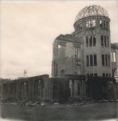 Hiroshima (daveknapik) Tags: blackandwhite history film japan sepia polaroid ruins wwii hiroshima instant nuclearwar polaroidsx70 atomicbombdome  hiroshimapeacememorial polaroidsx70sonar impossibleproject genbakudmu