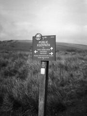 No 302 (l4ts) Tags: landscape blackwhite cheshire heather peakdistrict signpost darkpeak filmscan moorland wildboarclough halfframecamera danevalley nikoncoolscaniv olympuspenees peakandnorthernfootpathssociety britnatparks blackwhitenegativefilm no302 kentmere100film
