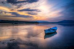 Lights of sunset (Nejdet Duzen) Tags: trip travel sunset lake reflection nature turkey boat türkiye sandal günbatımı göl yansıma turkei seyahat manisa doğa gölmarmara