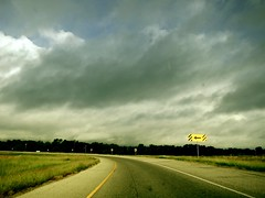 Turning sky {279/365} (therealjoeo) Tags: road sky sign clouds turn highway texas taylor 365 365project