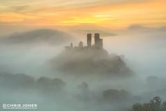 Beautiful misty Corfe Castle (Chris Jones www.chrisjonesphotographer.uk) Tags: uk chris autumn england mist west castle fog sunrise jones south dorset corfe swanage purbecks wwwbluewaterphotographycouk