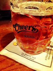 Samual Adams beer in Cheers glasses.