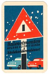 hungarian calendar card (maraid) Tags: snow sign warning cards hungary traffic 1960s 1961 hungarian calendarcard