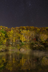 Autumn night (Keiichi T) Tags: blue autumn light shadow sky mountain lake tree water japan night forest canon eos star leaf pond autumnleaves           6d