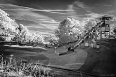 Parc infrarouge / Infrared park (Laurent VALENCIA) Tags: park trees blackandwhite playground canon noiretblanc arbres infrared enfants recreation provence jeux infrarouge parcdugriffon dualiso