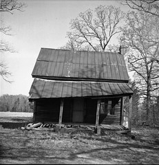 simple living (History Rambler) Tags: old house abandoned film home analog rural self mediumformat log cabin south scan negative antebellum developed ciroflexmodele