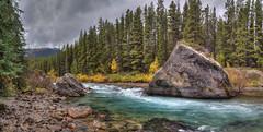 Maligne River - Panorame (John Payzant) Tags: park panorama fall colors river landscape jasper alberta hdr maligne