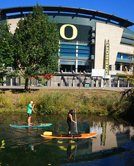 Autzen Paddle Boarding II (Wolfram Burner) Tags: school college oregon campus football university o stadium ducks eugene uo uofo universityoforegon eugeneoregon uoregon autzen