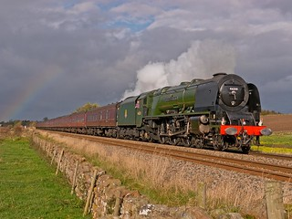 LMS Coronation Class 4-6-2 No 46233 Duchess of Sutherland in charge of the Appleby Explorer just south of Langwathby