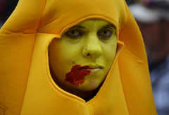bananas are zombies too? (mcfcrandall) Tags: toronto blood sad zombie banana greenface zombiewalk bloodychin