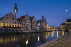 Evening in Ghent (Jason Row Photography) Tags: old city bridge blue sky people urban panorama house building tower tourism monument water beautiful architecture night facade reflections river outdoors lights evening town canal twilight scenery europe european cityscape belgium dusk illumination landmark tourist medieval illuminated destination historical belgian flemish ghent gent channel attraction nightfall graslei benelux